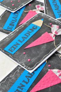 Karten basteln zur Einschulung: DIY Idee für Einschulungskarten im Chalklook. Da kann der erste Schultag kommen!