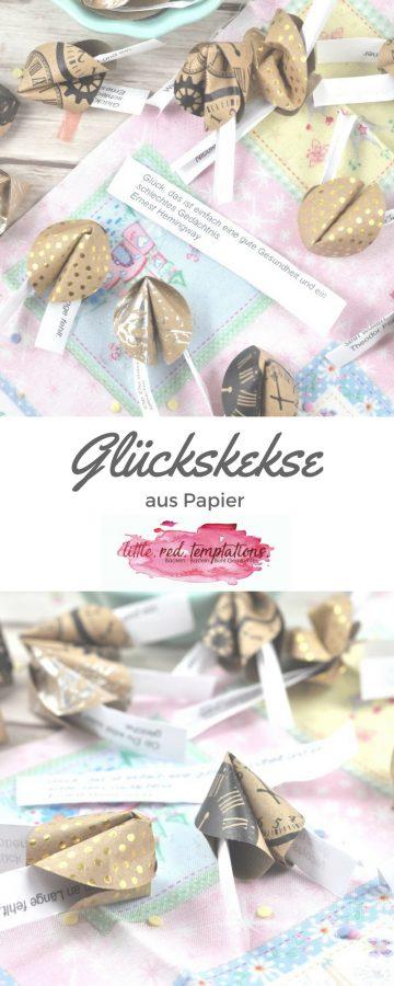 Glückskekse aus Papier einfache DIY Idee. Perfekt für Geburtstage, Silvester, Hochzeiten oder allgemein als Gastegeschenke. Die Anleitung ist sehr einfach und es gibt eine Vorlage für Sprüche zum Ausdrucken.