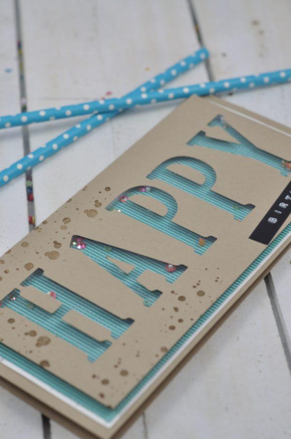 Eine Schüttelkarte zum Geburtstag mit den großen Buchstaben von Stampin Up